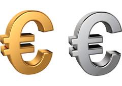 Símbolos dorado y plateado del euro