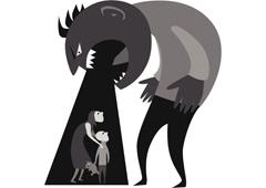 Un muñeco simulando un ogro que grita a una mujer y un niño