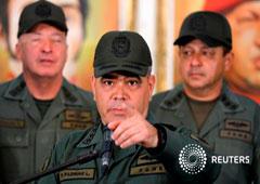 El ministro de Defensa de Venezuela, Vladimir Padrino López, durante una conferencia de prensa en Caracas, Venezuela. 19 de febrero de 2018