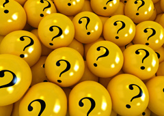 Bolas amarillas con el símbolo del interrogante