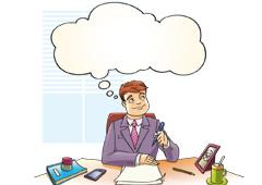 Dibujo de un hombre en un despacho pensando en algo