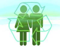 Iconos de hombre y mujer con una espiral de flechas alrededor