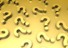 Interrogantes de color dorado
