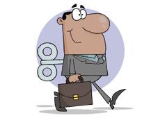Dibujo de un abogado con una llave en la espalda