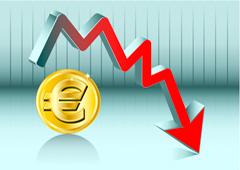 Símbolo del euro y flecha descendente