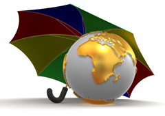 Paraguas y bola del mundo