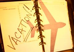 Agenda con la hoja marcada como vacaciones