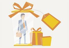 Dibujo de un abogado rodeado de regalos