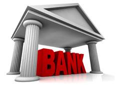 La palabra Bank en rojo debajo de un edificio