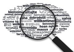 Palabra bienvenida ampliada en diferentes idiomas