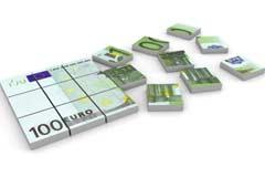 Billetes de euro troceados
