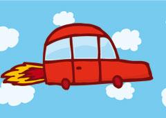 Dibujo de un coche volando