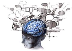 Imagen de un cerebro con pensamientos
