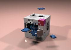 Un cubo con piezas sueltas
