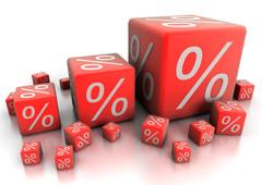 Varios cubos rojos con símbolo de %