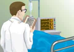 Dibujo de un médico en una habitación de hospital