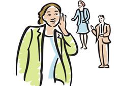 Dibujo de una persona escuchando a otras dos mientras hablan