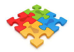 Fichas de puzzle de colores.