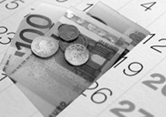 Euros sobre una imagen de un calendario