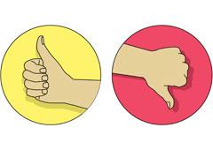 Una mano con el pulgar hacia arriba y otra con el pulgar hacia abajo