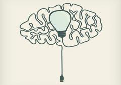 Dibujo de un cerebro y una bombilla