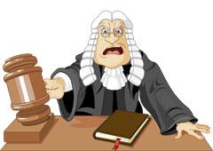 Dibujo de un juez enfadado