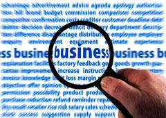 Una lupa aumentando la palabra business