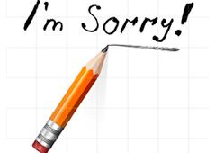 Un lápiz y la frase I'm Sorry