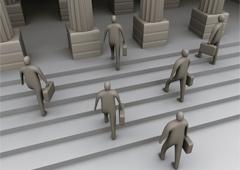 Personas grises subiendo escaleras