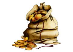 Un saco lleno de monedas