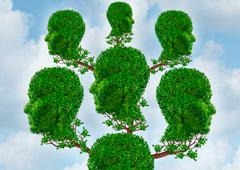 Cabezas humanas formando un árbol genealógico