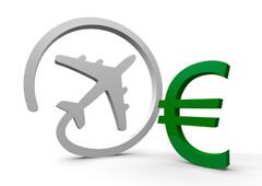 Avión y símbolo del euro
