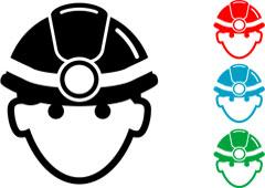 Cabezas con cascos de colores
