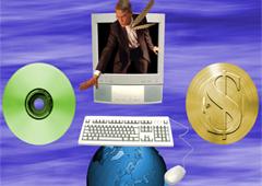La imagen de un hombre que sale de la pantalla de un ordenador para coger un CD debajo el teclado y debajo la bola del mundo con un ratón de ordenador y a la derecha el signo del dólar
