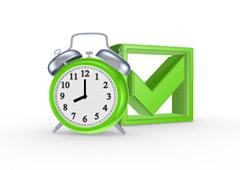 Reloj verde con marca de verificación