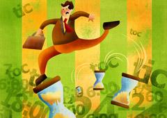 Dibujo de un trabajador saltando sobre relojes de arena