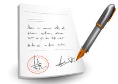 Contrato con pluma para firmar