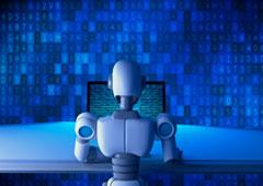 Un robot tratando datos