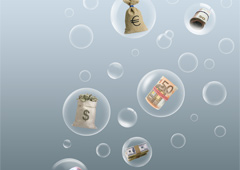 Burbujas de agua con dinero dentro