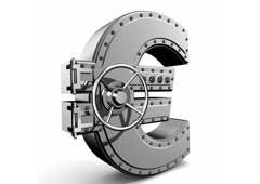 Símbolo del euro como caja fuerte