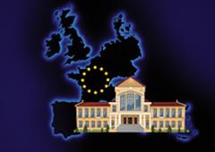 Foto de un ayuntamiento sobre un mapa de Europa