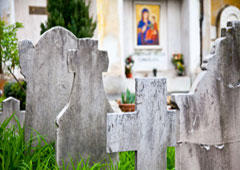 Lápidas en un cementerio