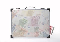 Maletín y billetes de euro