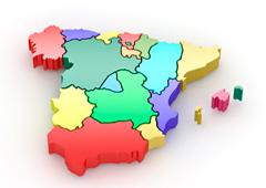 Mapa de España con las CCAA en color