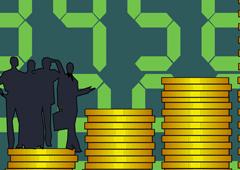 Las siluetas de unas personas y simulando un gráfico con monedas apiladas en cada fila